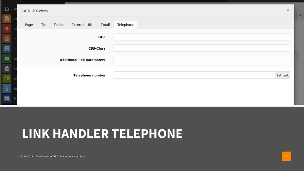 LINK HANDLER TELEPHONE 12.07.2019 What's new in...