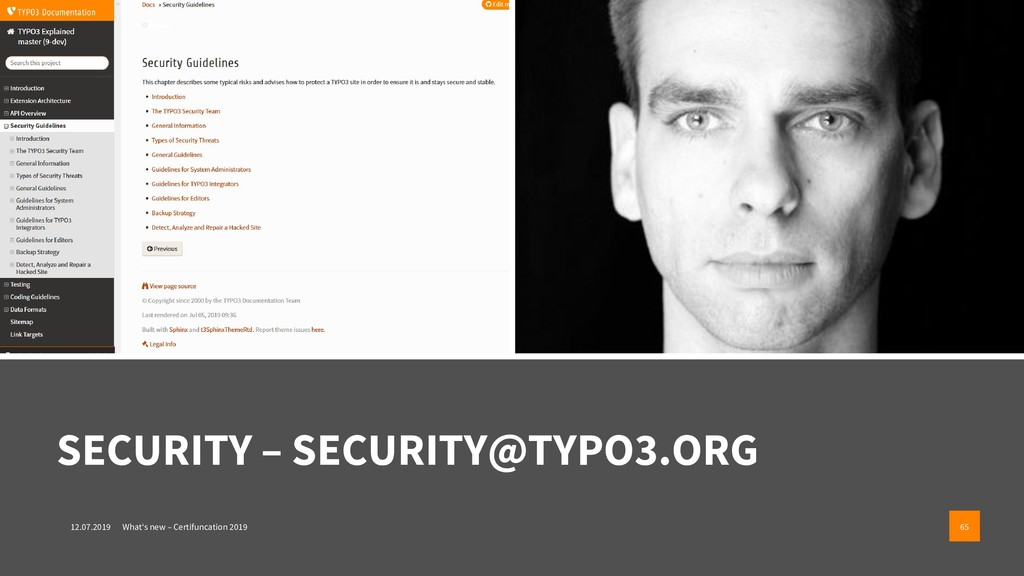 SECURITY – SECURITY@TYPO3.ORG 12.07.2019 What's...