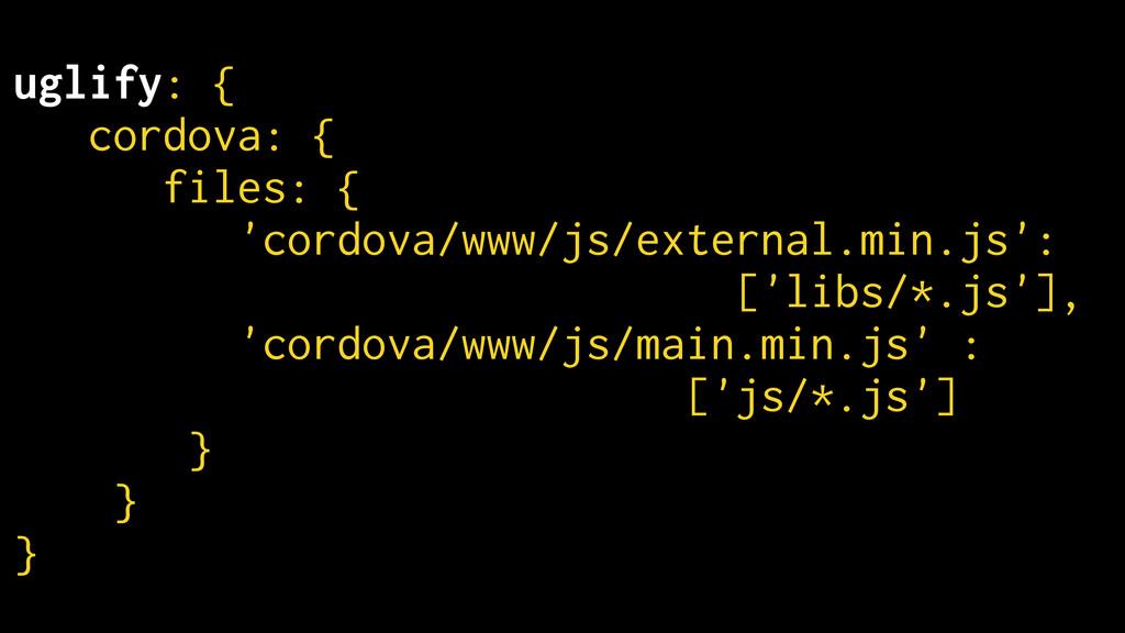 uglify: { cordova: { files: { 'cordova/www/js/e...