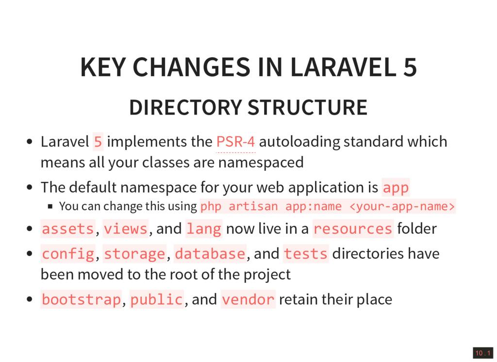 10 . 1 KEY CHANGES IN LARAVEL 5 DIRECTORY STRUC...