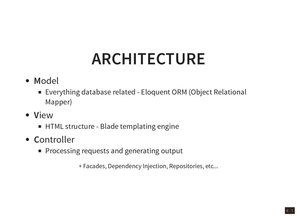 4 . 1 ARCHITECTURE Model Everything database re...