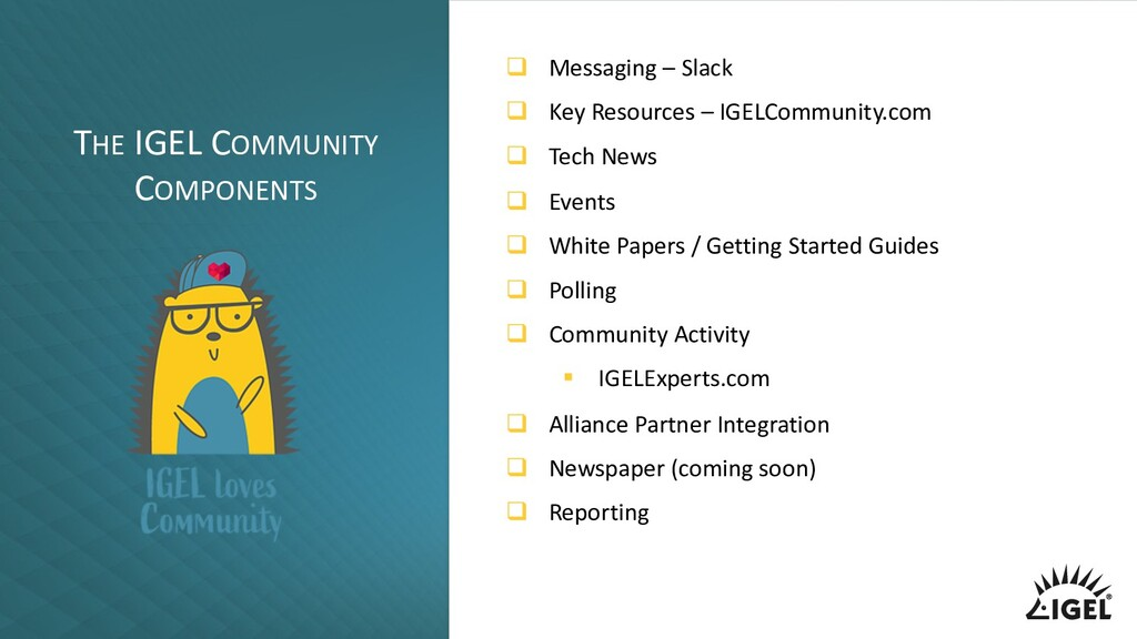 THE IGEL COMMUNITY COMPONENTS q Messaging – Sla...