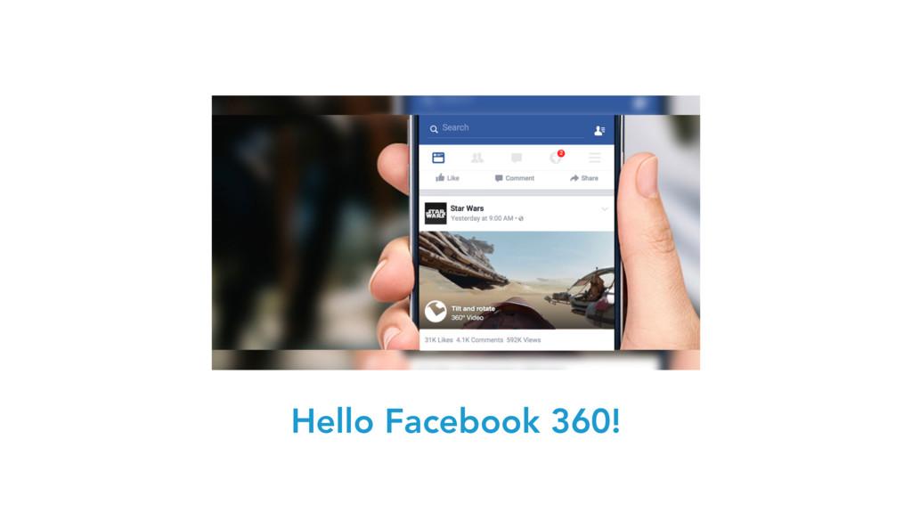 Hello Facebook 360!