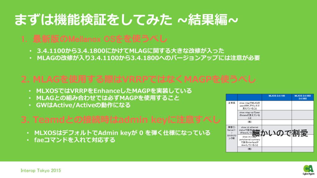 まずは機能検証をしてみた ~結果編~ Interop Tokyo 2015 MLXOS 3.4...