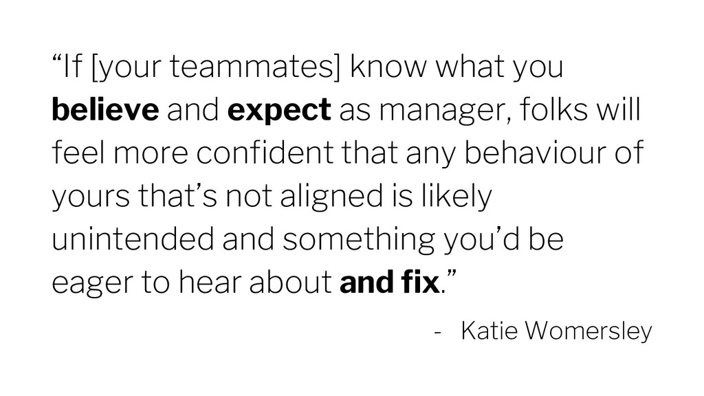 """If [your teammates] know what you believe and ..."