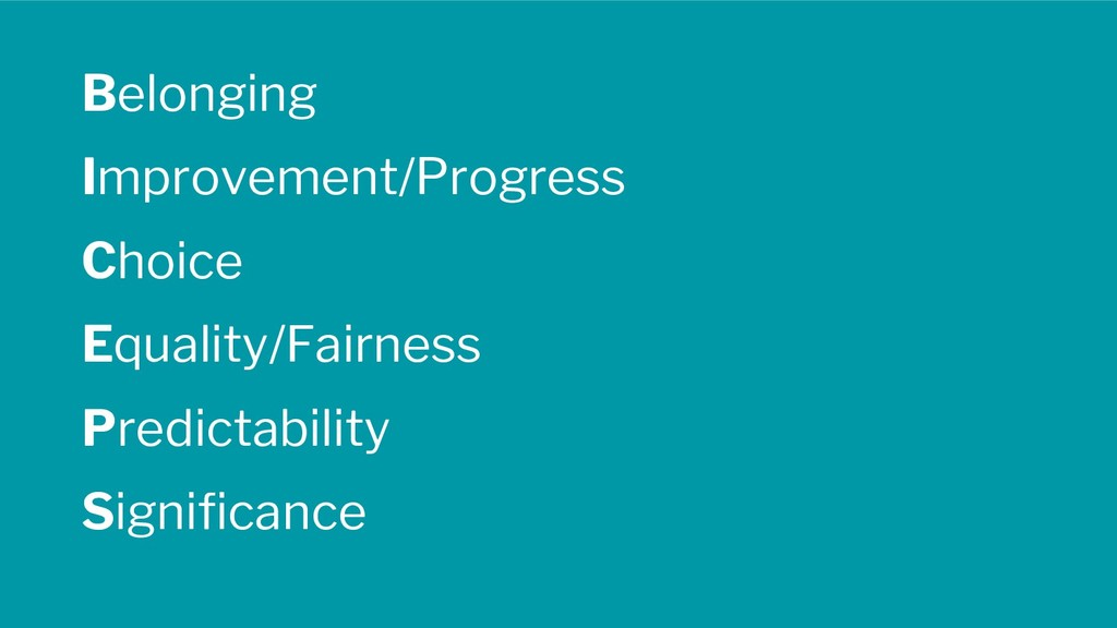 Belonging Improvement/Progress Choice Equality/...