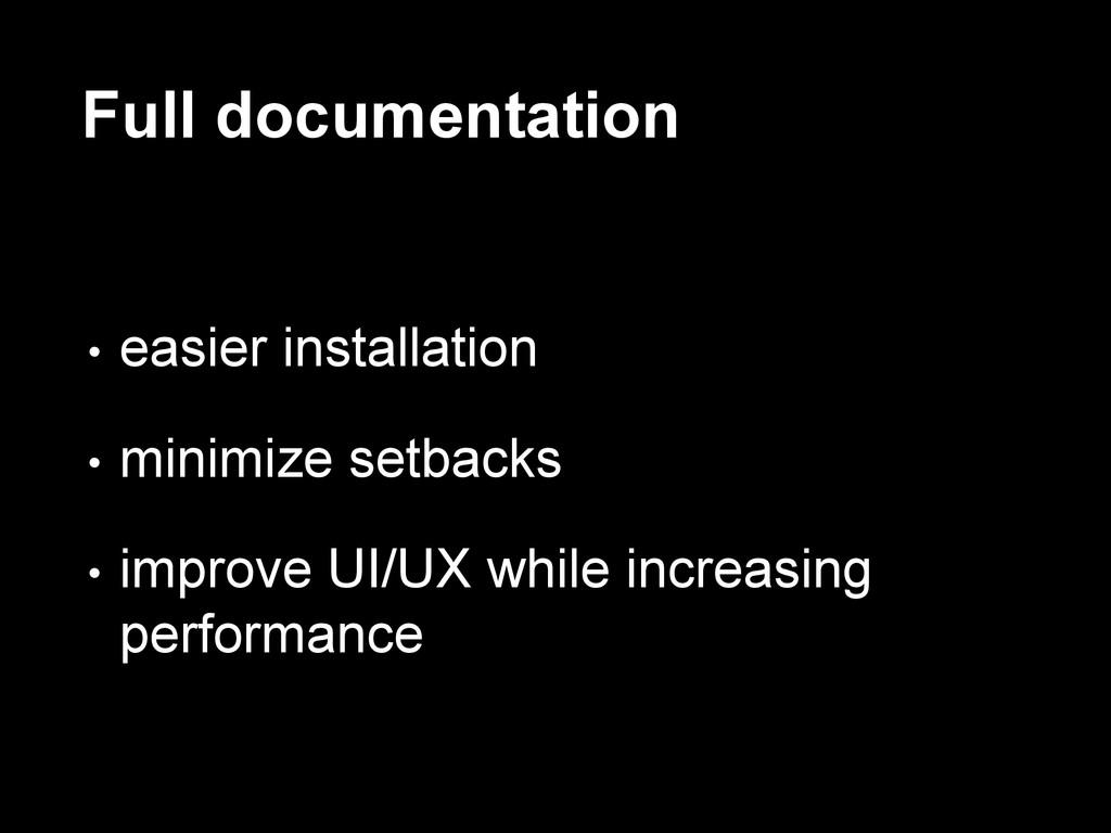 Full documentation • easier installation • mini...