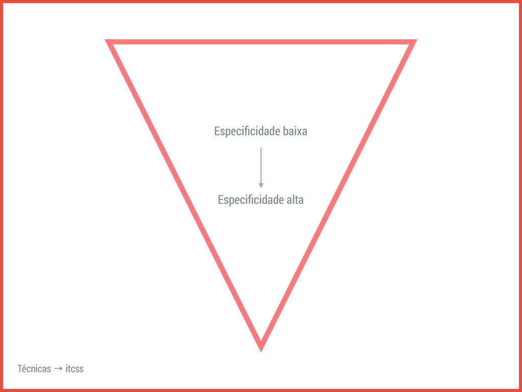 Técnicas → itcss Especificidade baixa Especificid...