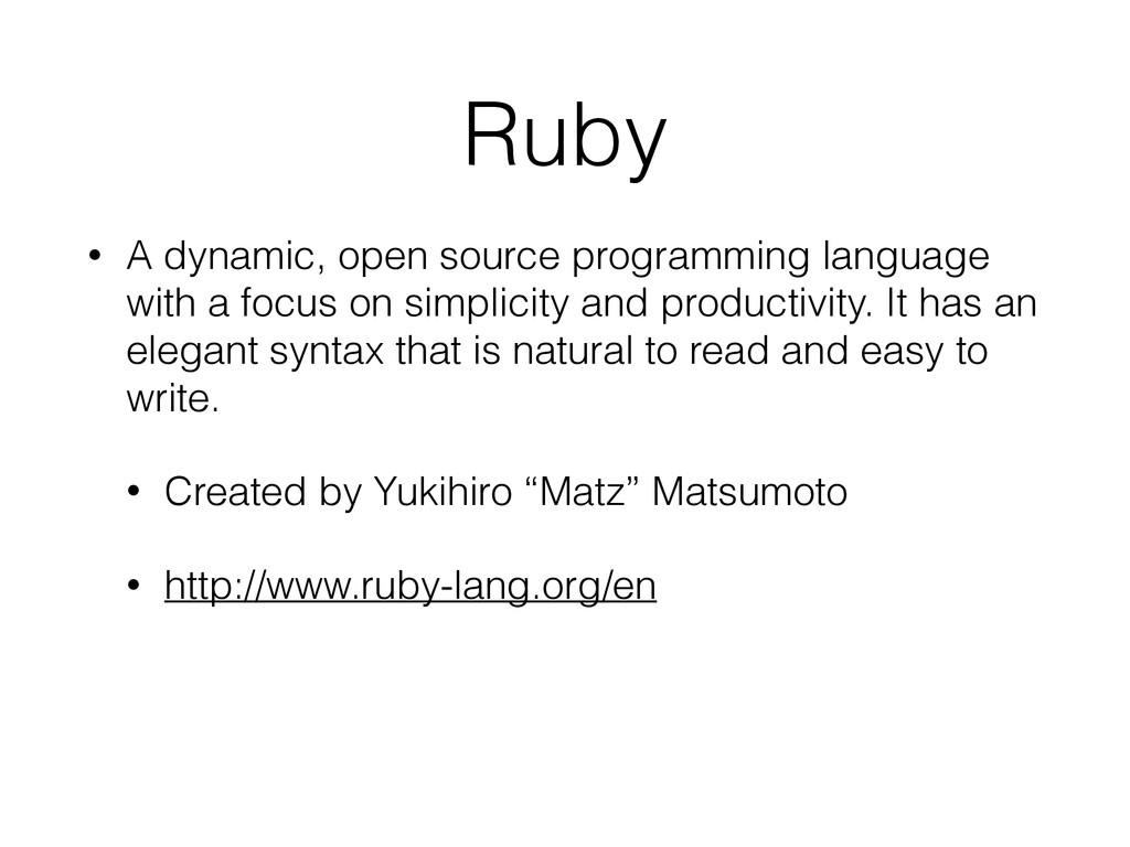 Ruby • A dynamic, open source programming langu...