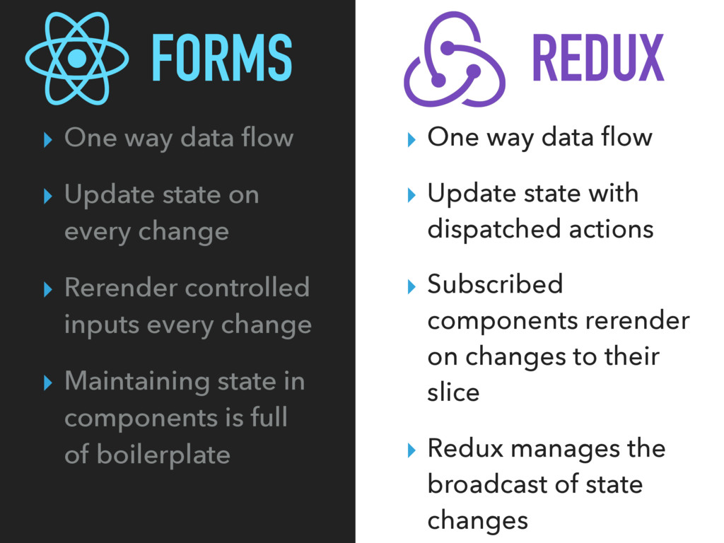 FORMS ▸ One way data flow ▸ Update state on ever...