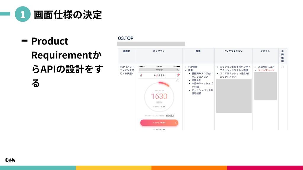 画⾯仕様の決定 Product Requirementか らAPIの設計をす る 1