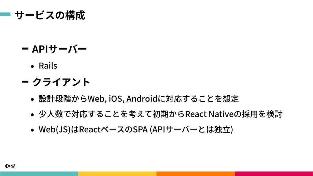 サービスの構成 APIサーバー • Rails クライアント • 設計段階からWeb, iOS...
