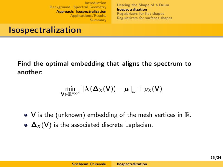 15/24 Introduction Background: Spectral Geometr...