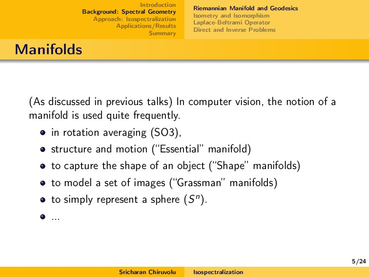 5/24 Introduction Background: Spectral Geometry...