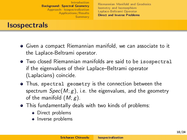 10/24 Introduction Background: Spectral Geometr...