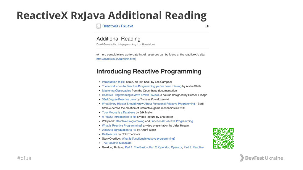 #dfua ReactiveX RxJava Additional Reading