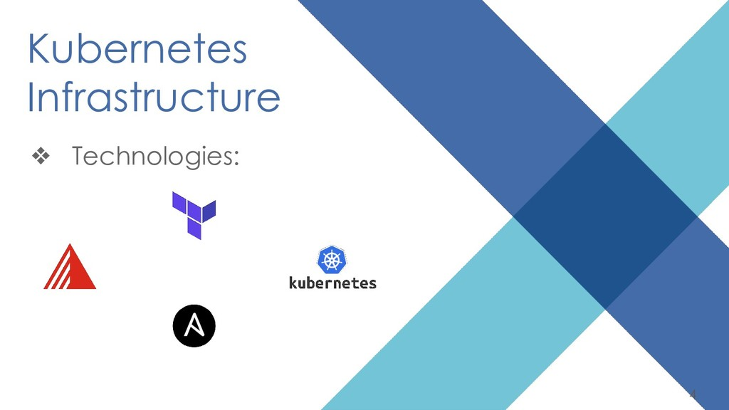 4 Kubernetes Infrastructure ❖ Technologies: