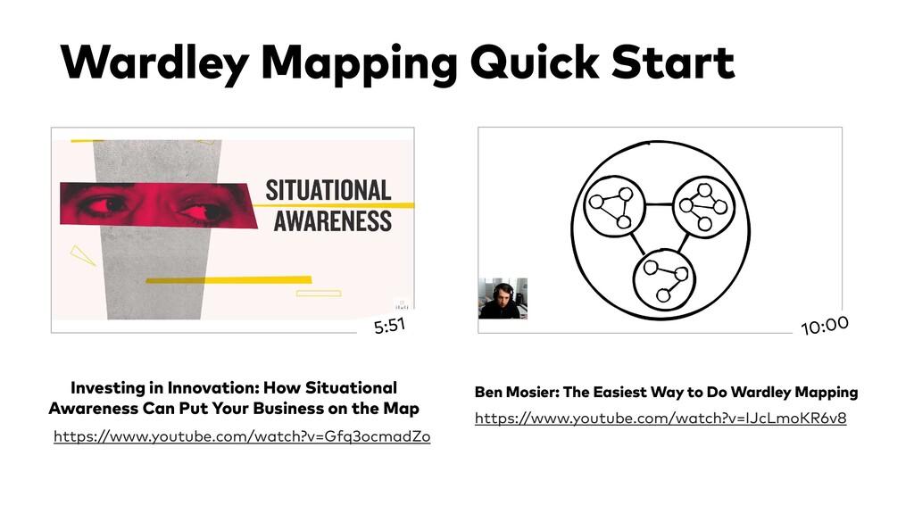 Wardley Mapping Quick Start https://www.youtube...