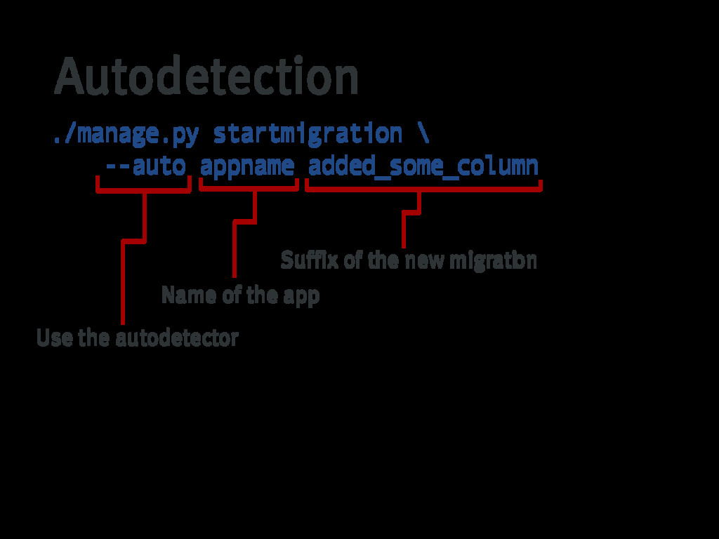 Autodetection ./manage.py startmigration \ --au...
