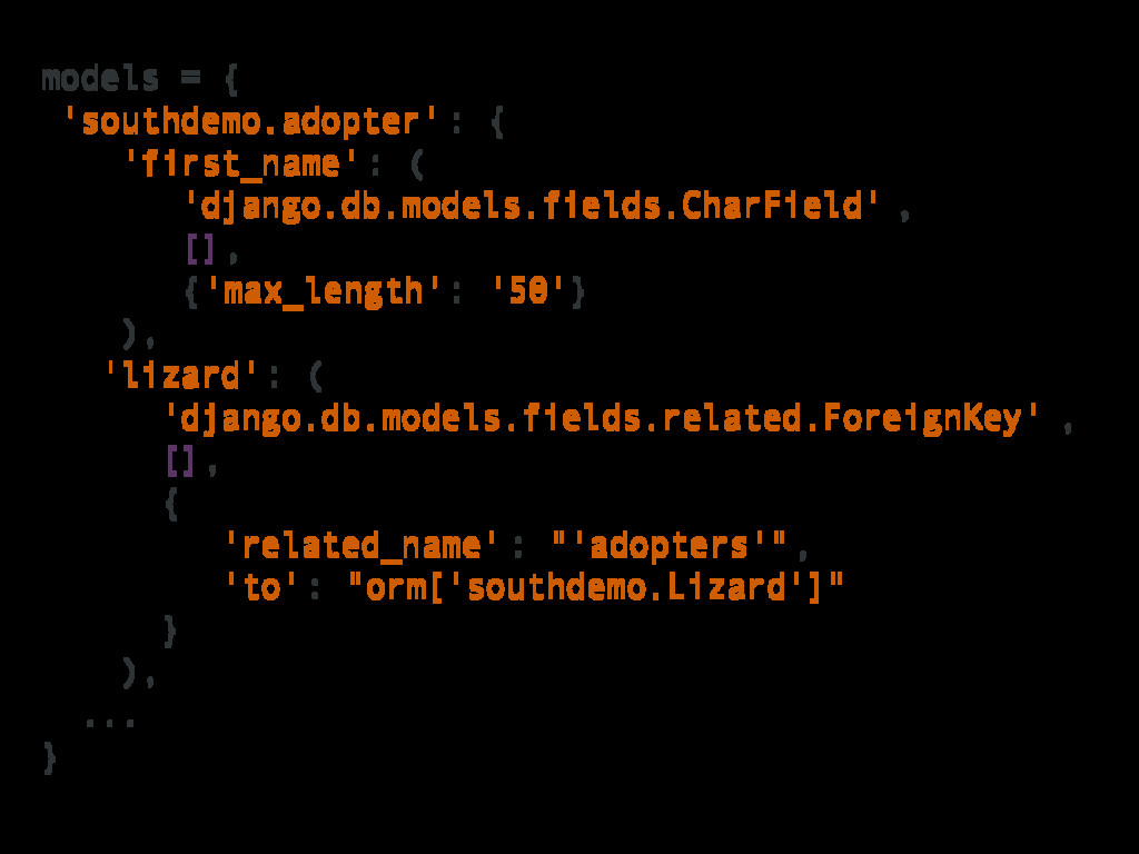 models = { 'southdemo.adopter' : { 'first_name'...
