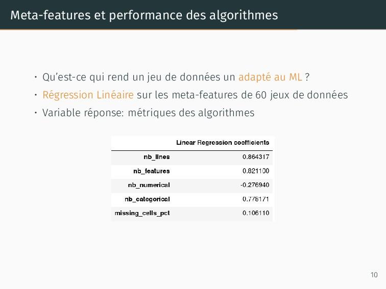 Meta-features et performance des algorithmes • ...
