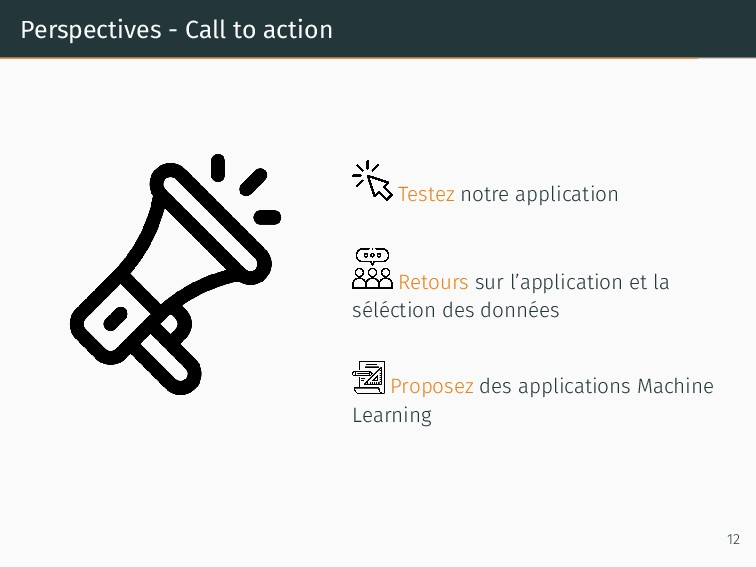 Perspectives - Call to action Testez notre appl...