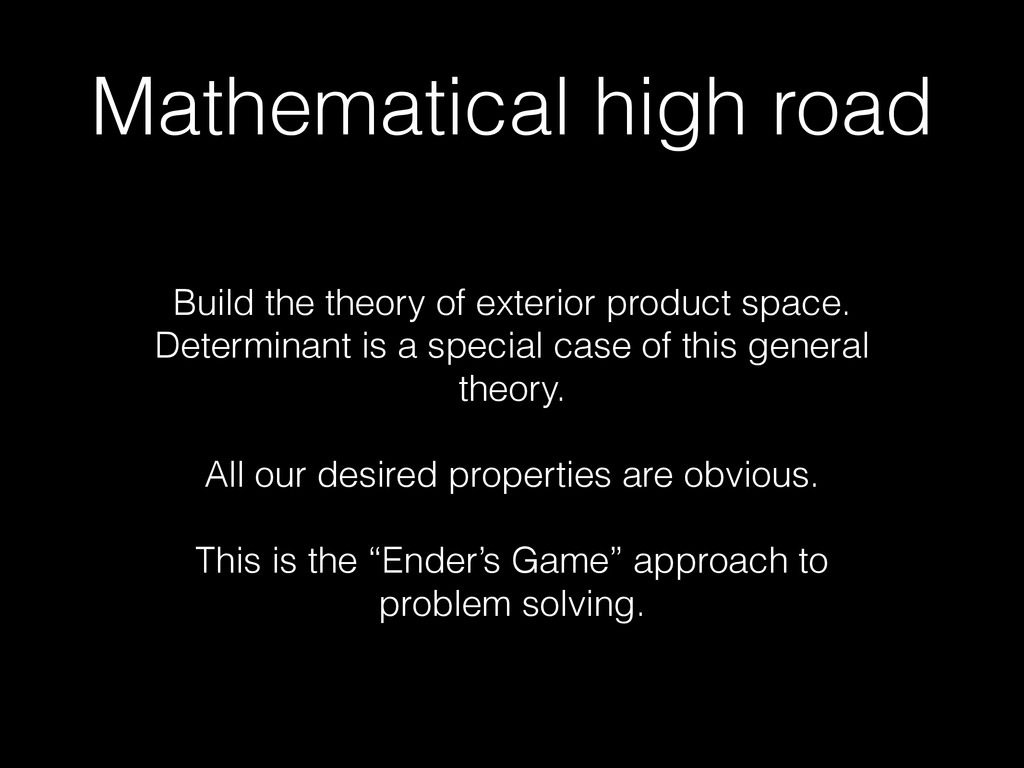 Mathematical high road Build the theory of exte...