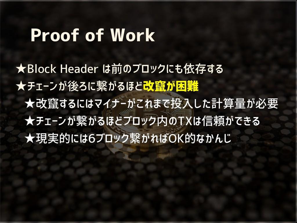 Proof of Work ★Block Header は前のブロックにも依存する ★チェーン...