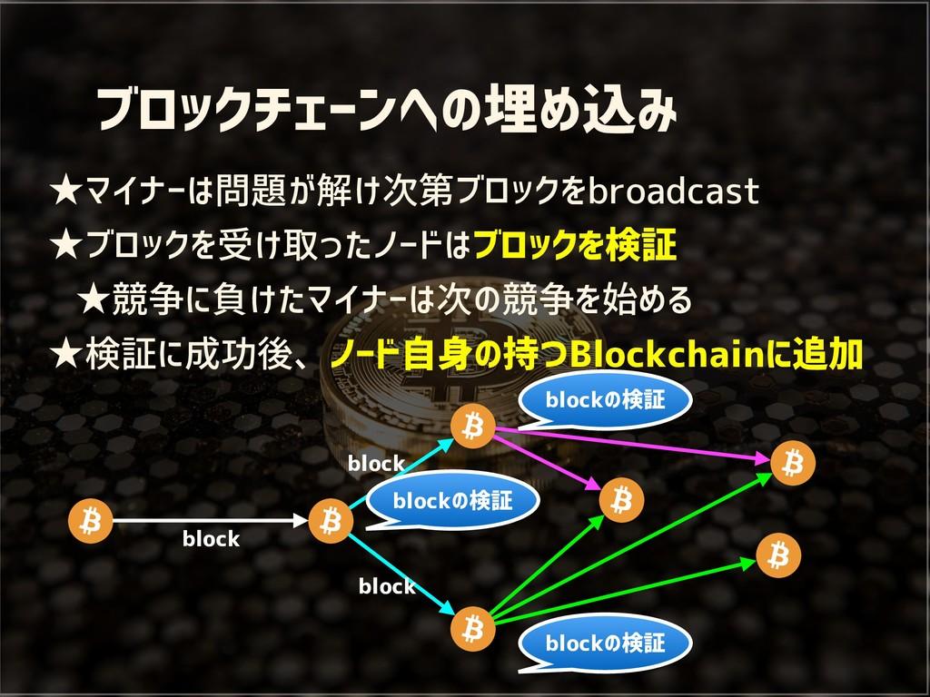 ブロックチェーンへの埋め込み ★マイナーは問題が解け次第ブロックをbroadcast ★ブロッ...