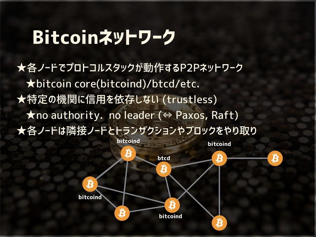 Bitcoinネットワーク ★各ノードでプロトコルスタックが動作するP2Pネットワーク ★bi...