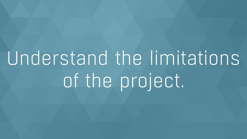 Understand the limitations of the project.