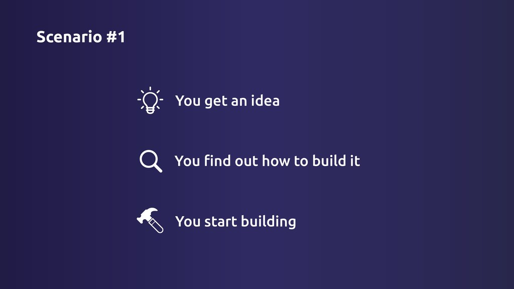 #1 You get an idea Scenario You find out how to ...