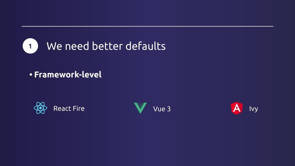 Vue 3 Ivy React Fire 1 We need better defaults ...