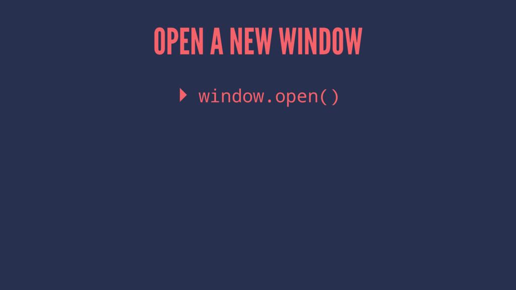 OPEN A NEW WINDOW ▸ window.open()