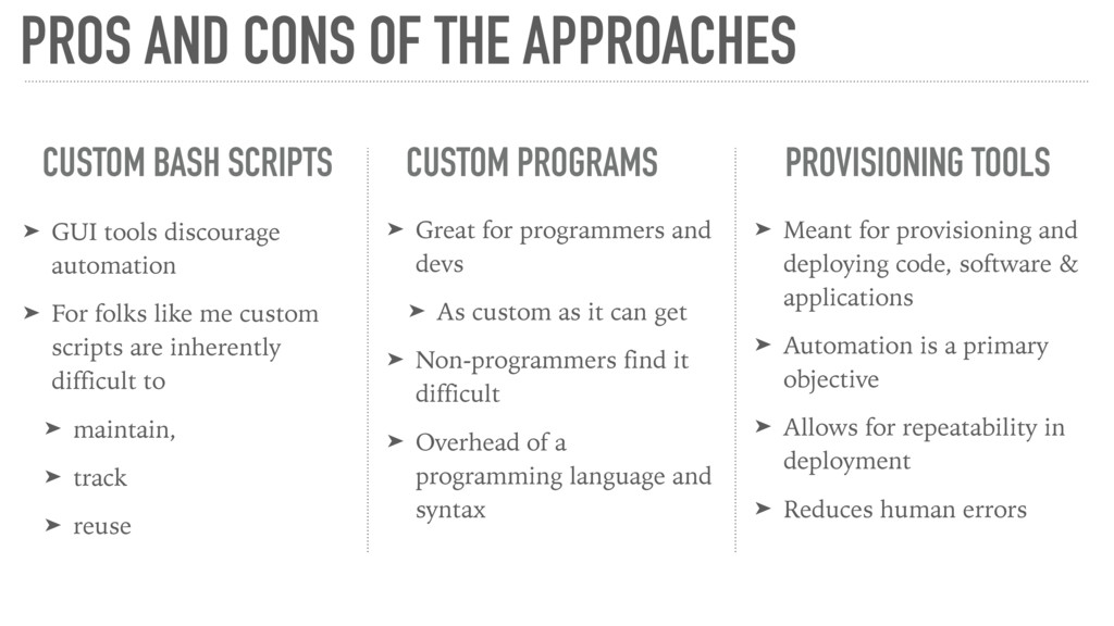 PROS AND CONS OF THE APPROACHES CUSTOM BASH SCR...