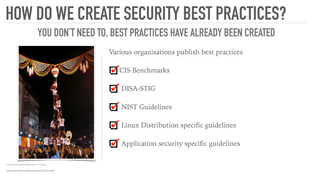Various organisations publish best practices CI...