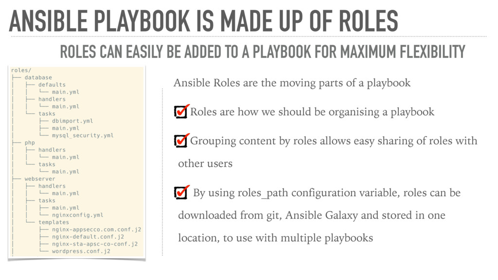 Ansible Roles are the moving parts of a playboo...