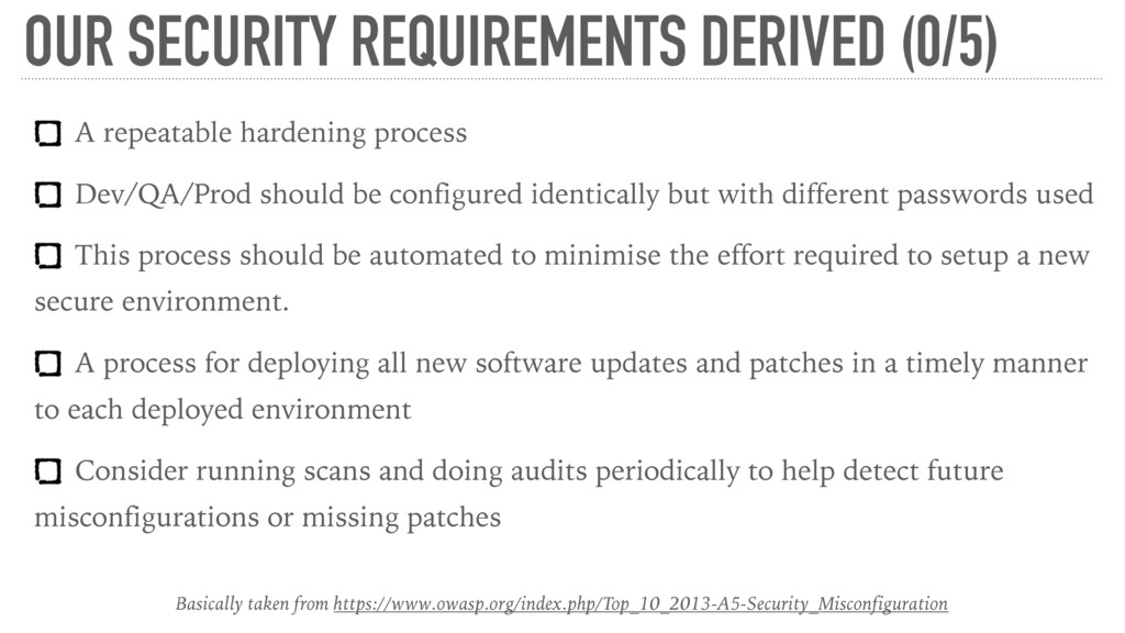 OUR SECURITY REQUIREMENTS DERIVED (0/5) A repea...