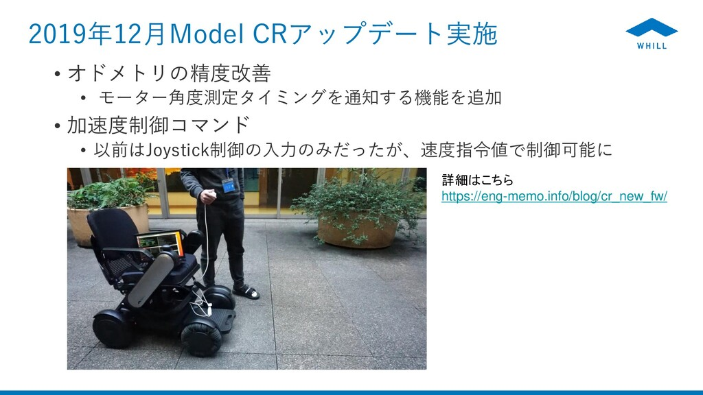 2019年12月Model CRアップデート実施 • オドメトリの精度改善 • モーター角度測...
