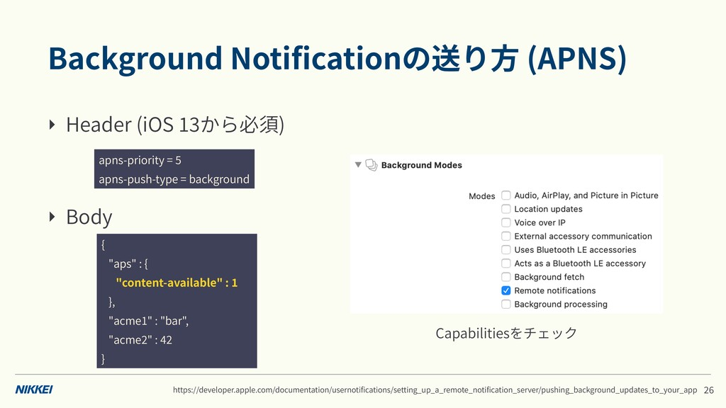 Background Notificationの送り⽅ (APNS) ‣ Header (iOS...