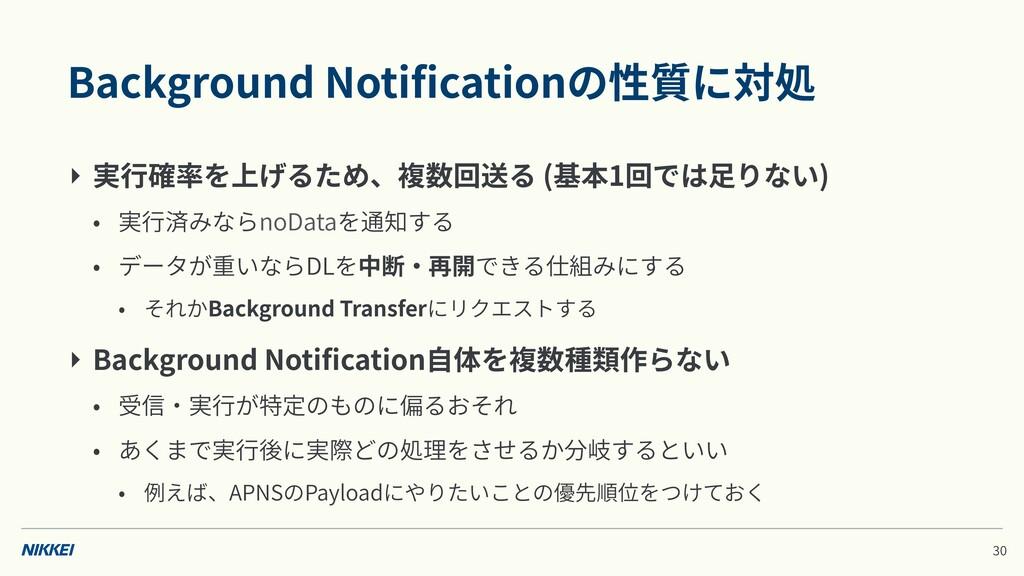 Background Notificationの性質に対処 ‣ 実⾏確率を上げるため、複数回送る...