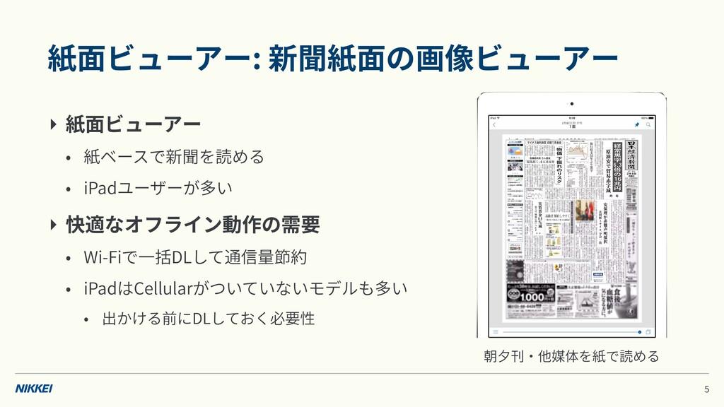 紙⾯ビューアー: 新聞紙⾯の画像ビューアー ‣ 紙⾯ビューアー • 紙ベースで新聞を読める •...