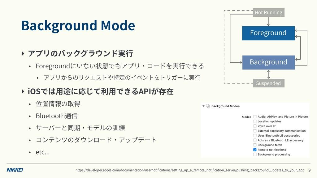 Background Mode ‣ アプリのバックグラウンド実⾏ • Foregroundにい...