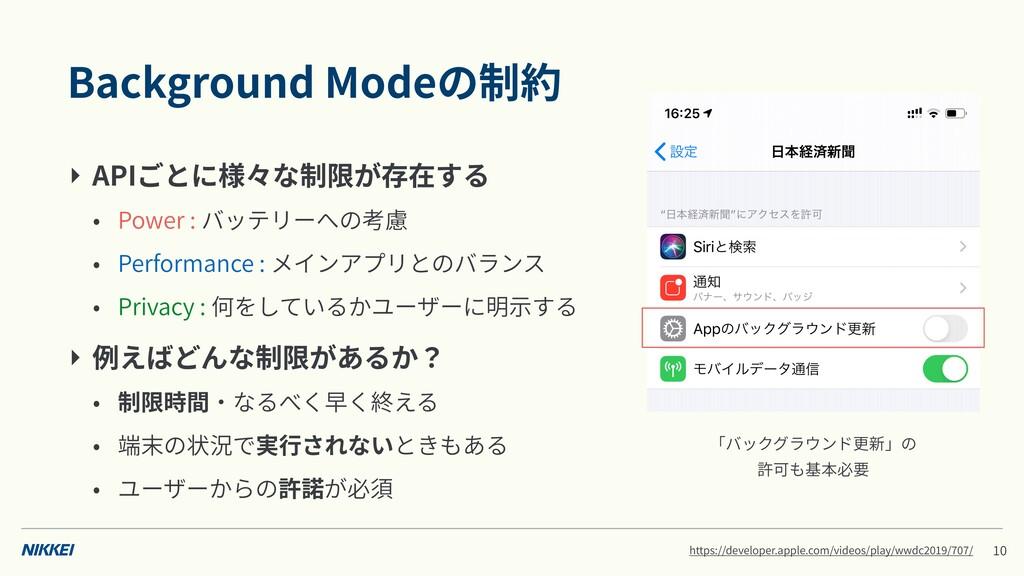 Background Modeの制約 ‣ APIごとに様々な制限が存在する • Power :...