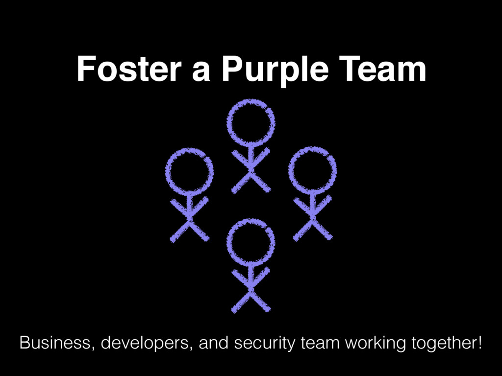 Foster a Purple Team Business, developers, and ...