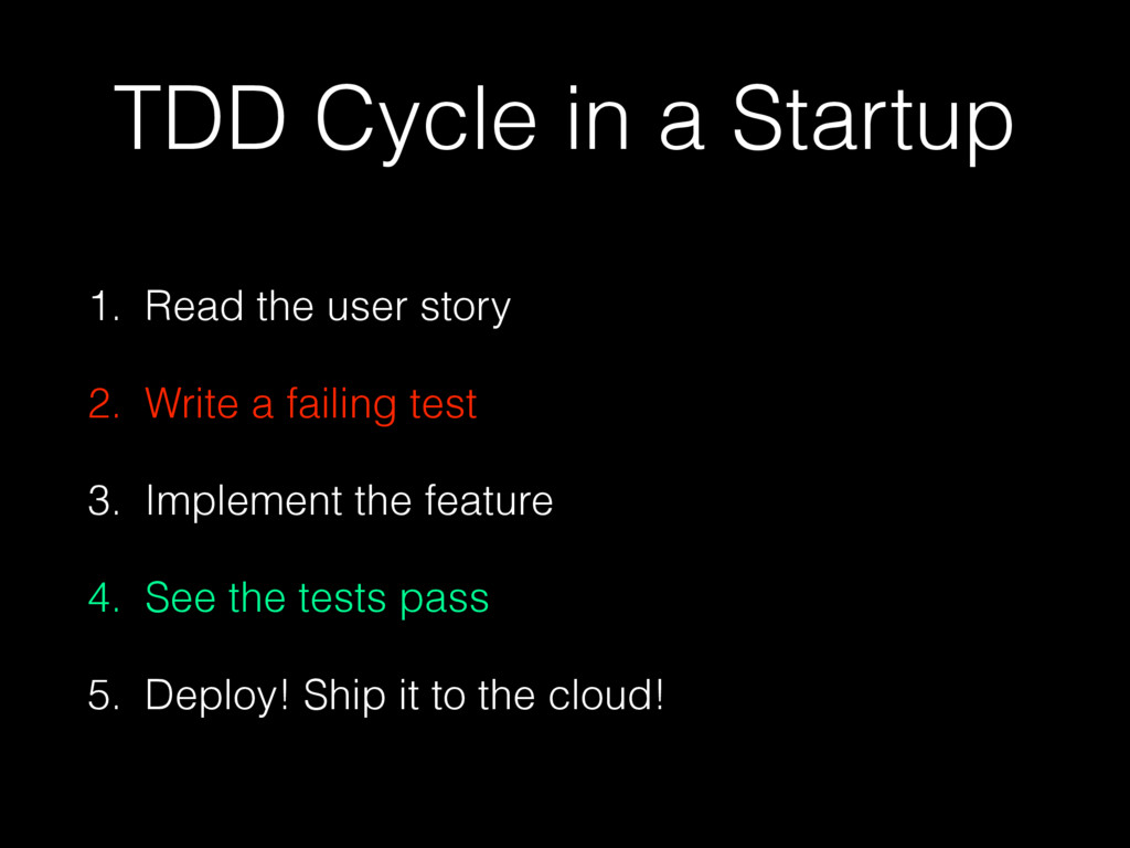 TDD Cycle in a Startup 1. Read the user story 2...