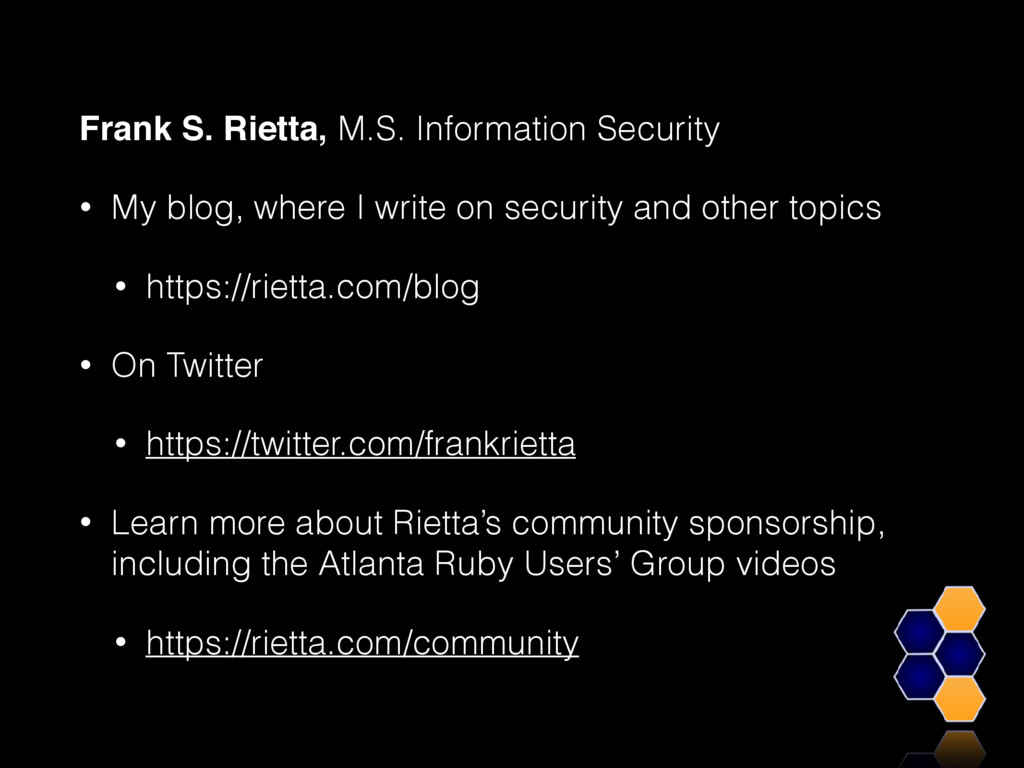 Frank S. Rietta, M.S. Information Security • My...
