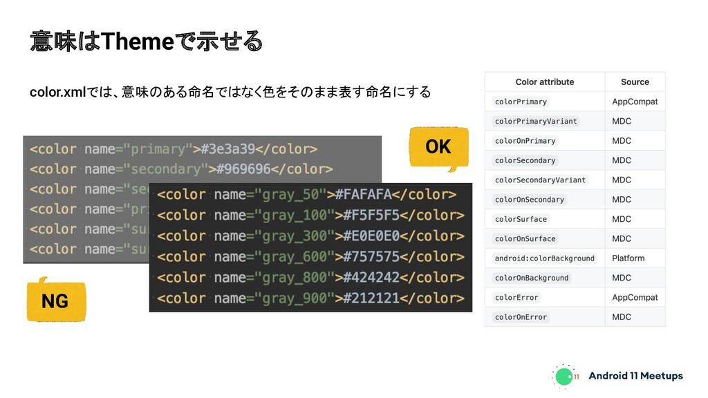 color.xmlでは、意味のある命名ではなく色をそのまま表す命名にする 意味はThemeで示...