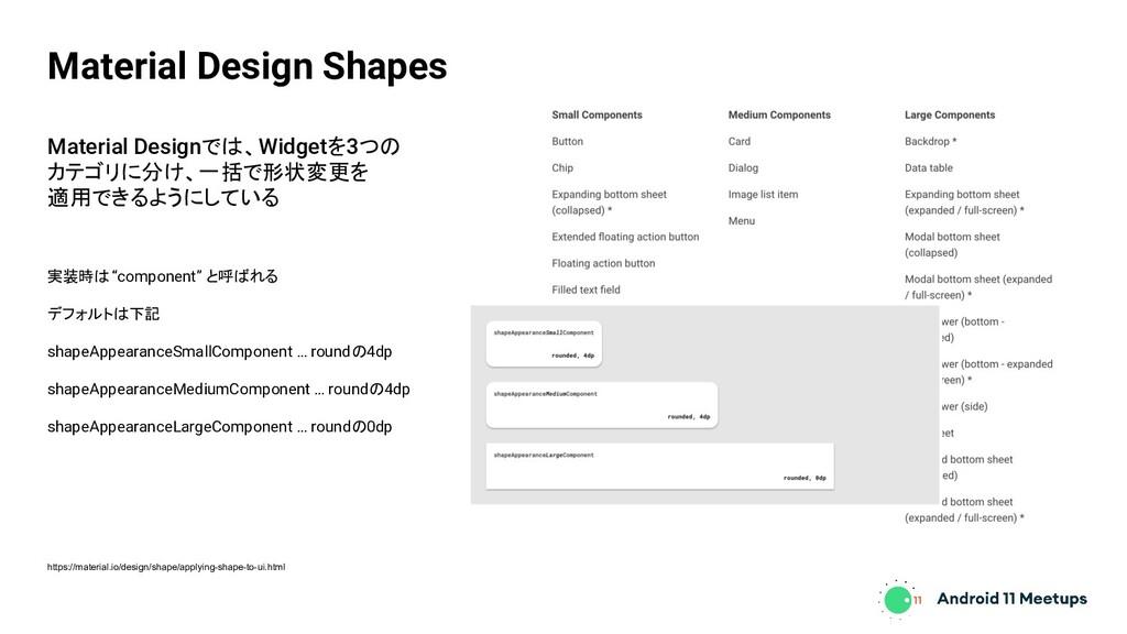 Material Designでは、Widgetを3つの カテゴリに分け、一括で形状変更を 適...