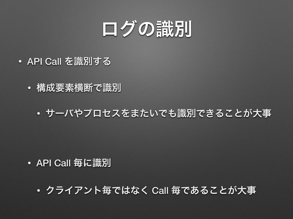ϩάͷࣝผ • API Call Λࣝผ͢Δ • ߏཁૉԣஅͰࣝผ • αʔόϓϩηεΛ·...